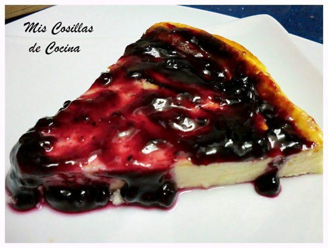 Tarta de queso Quark y mermelada de arándanos