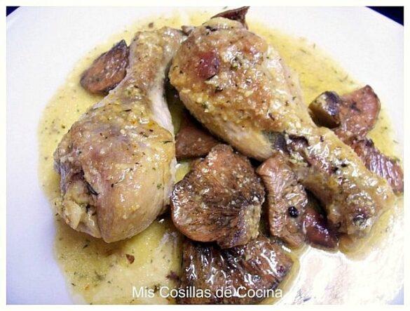 Muslos de pollo con almendras y Rovellons (Níscalos)