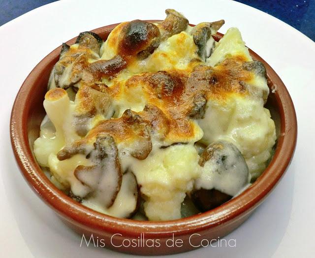 Coliflor y patata con setas, gratinado con all i oli
