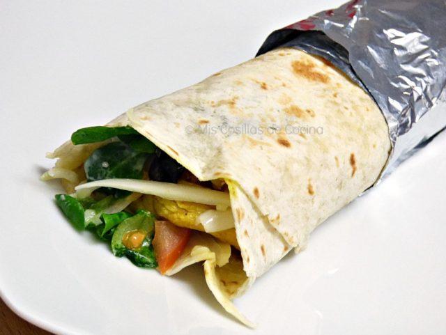 Dürüm Kebab casero de pollo