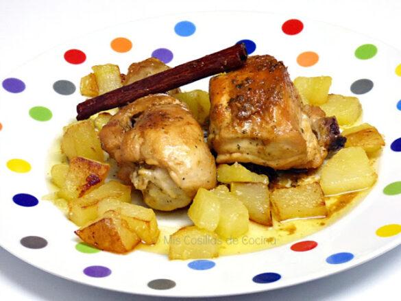 Pollo rustido a la canela