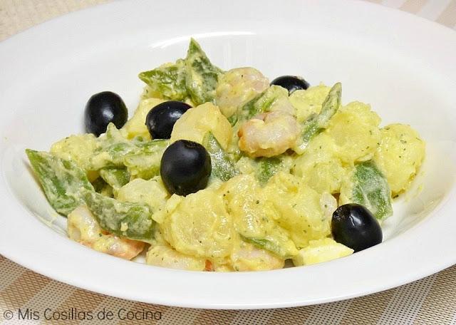 Ensalada de patatas, judías verdes y gambas