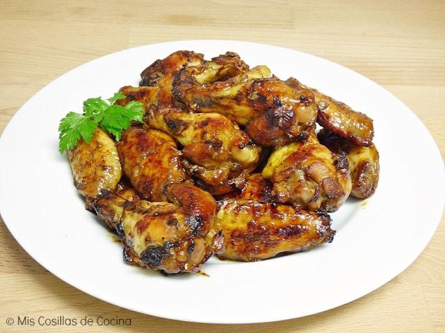 Alitas de pollo adobadas al horno