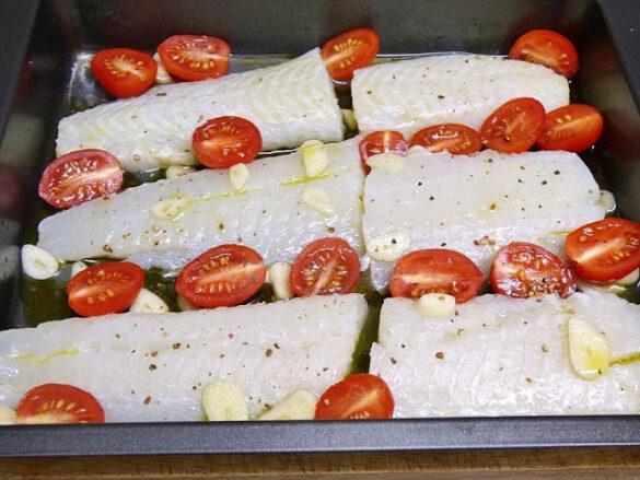 Filetes de halibut al horno