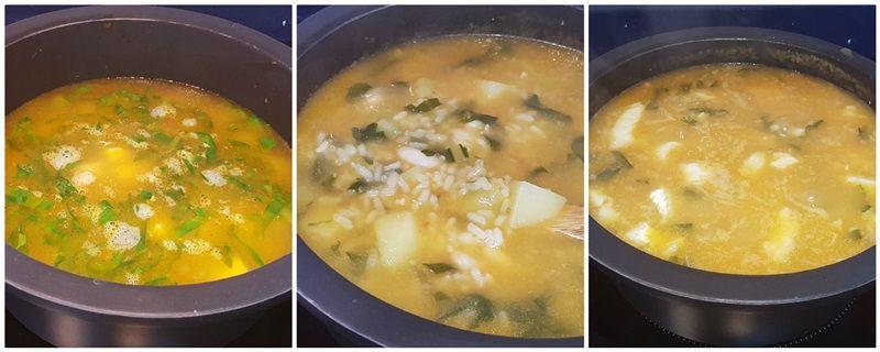 Potaje de arroz con alubias y bacalao