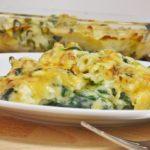 Macarrones con espinacas y queso
