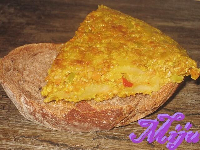 Tortilla vegetal con almendras
