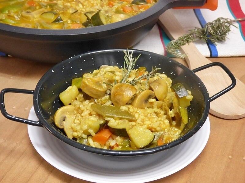 Arroz meloso integral con verduras