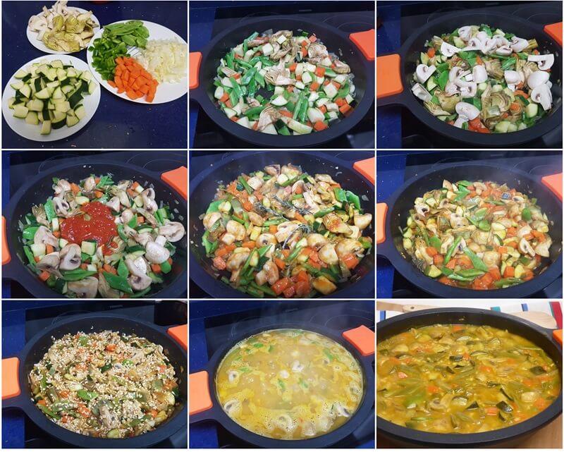 paso Arroz meloso integral con verduras
