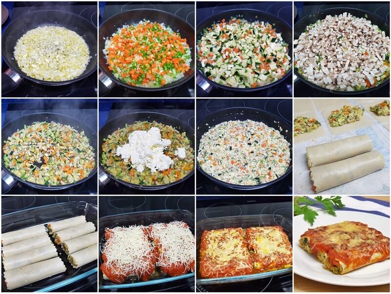 Paso-Canelones de verduras y requesón