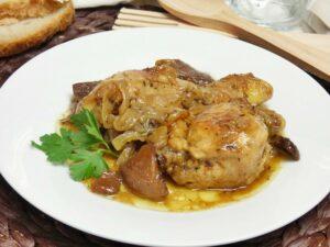 Pollo rustido con setas