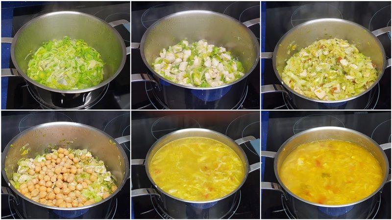 paso-Sopa de col con pollo y garbanzos