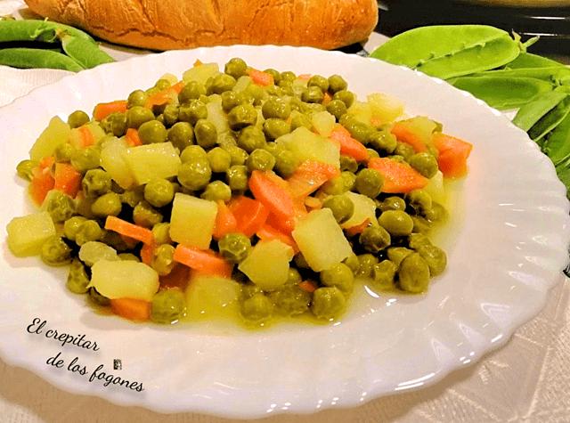 Guisos fáciles y económicos Guisantes guisados con patata y zanahoria